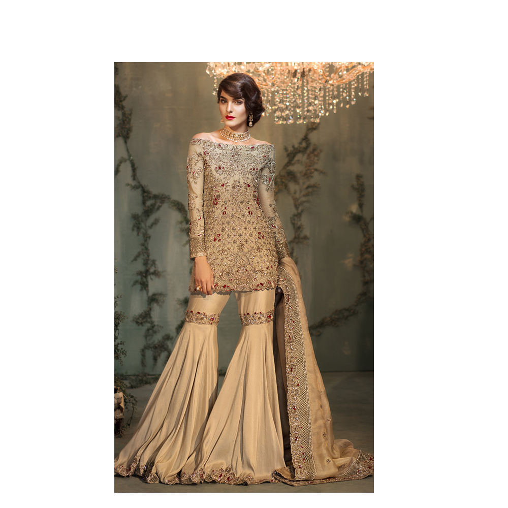 GOLD AND GARNET Bridal Gold, Ruby And Ivory Combination Pakistani ...