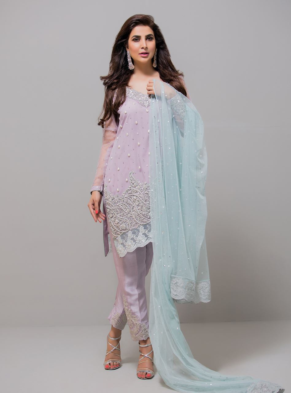 Lilac and ice blue pret wear party wear dress by by Zainab Chottani ...