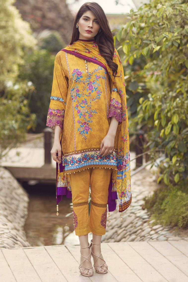 b4d18e856e Yellow 3 piece prêt ready to wear Embroidered Pakistani dress online  shopping at a discounted price