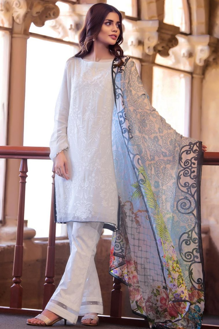 b15a76e68 Unstitched Summer Lawn Pakistani Eid Suit by Zeen Women 2019