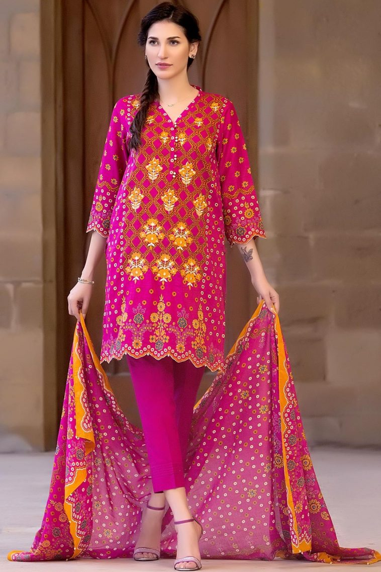 0e6ebdc7ce Buy online this Fuchsia 3 piece ready to wear embroidered Banjara Extand Pakistan  dress by Zeen