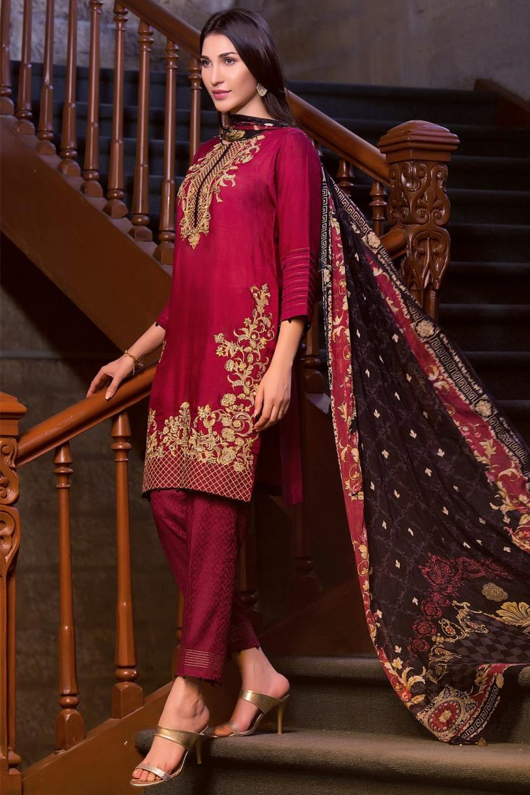 415e54bdc0 Buy this semi formally luxury Maroon Pakistani prêt wear Ready to Wear  Unstitched 3 Piece Pakistani
