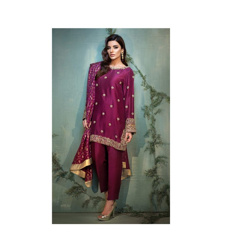 5354b669a01d PLUSH Pakistani Designer Luxury Dress In Wine Red Color To Buy Online By  Native.Pk