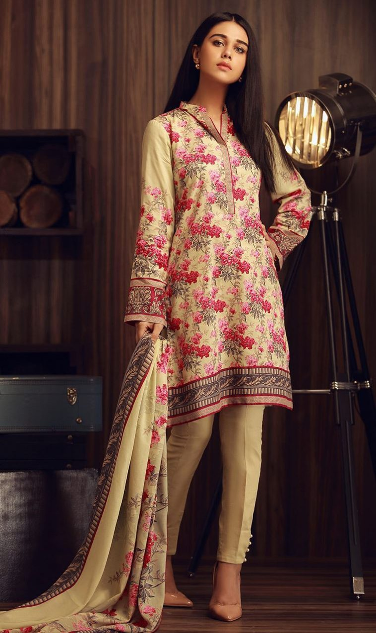 df37bab0ad Cream Color Very Stylish 3 Piece Unstitched Pakistani Cambric Dress  Available To Buy Online On Sale