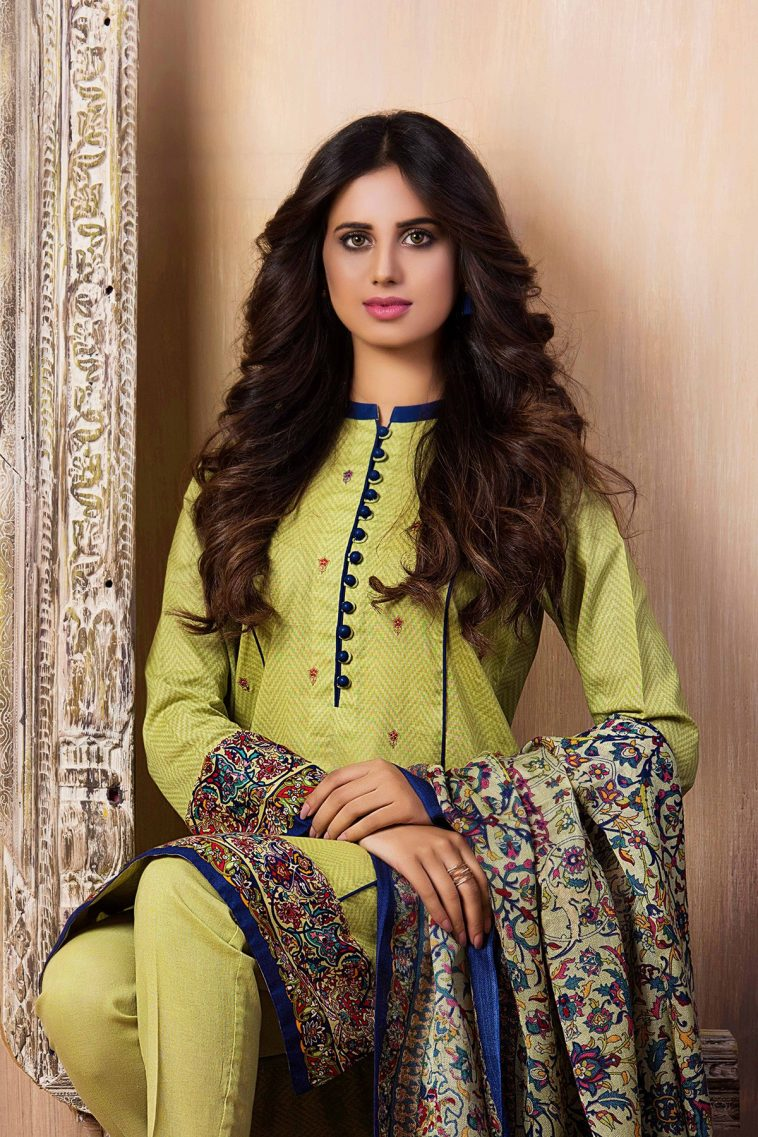 6719d8db74 Embroidered green pret wear dress by kayseria dresses 2018