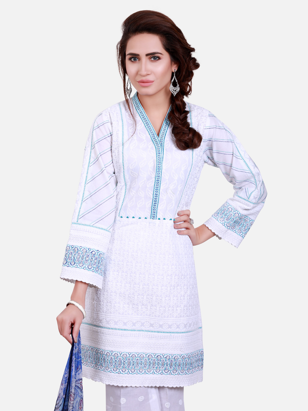 Beautiful White Chicken Kari Shirt By Eden Robe Casual Wear Collection 2019 Online Shopping In Pakistan