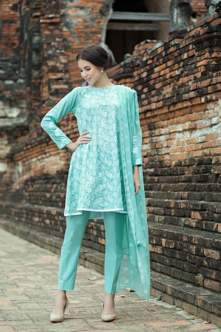 c1e9c360ec Beautiful turquoise Pakistani unstitched dress by Taana Baana pret wear 2019