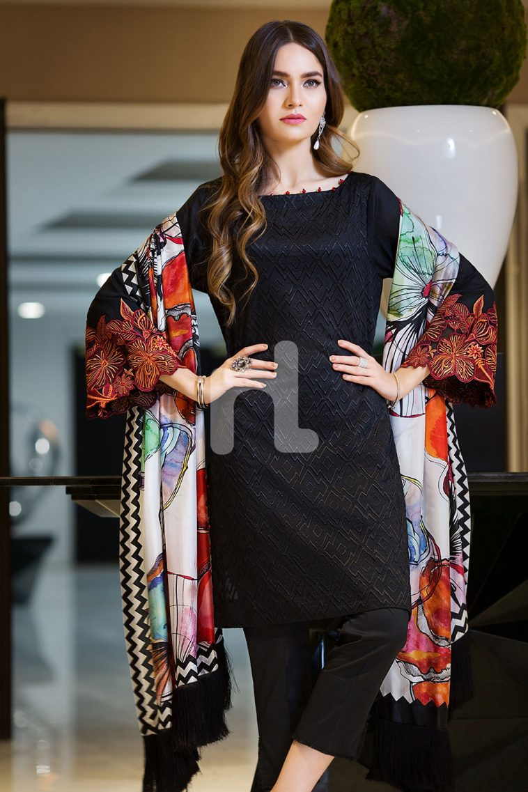 23b0cd8d22e Bold and magnificent black colored three piece unstitched lawn dress by Nishat  Linen embroidered collection 2019