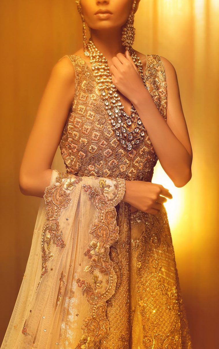Embellished Gold Asian Wedding Outfit By Pakistan Fashion Designers Bridal Wear Online Shopping In Pakistan