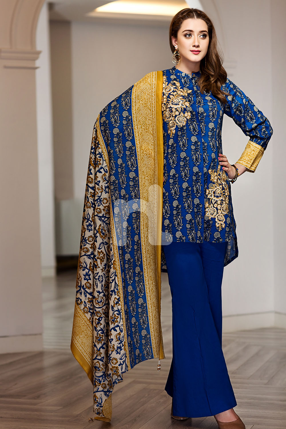 ae4a1211a2b ... dress price by Nishat Linen new collection 2018 Graceful Pakistani  embroidered Blue 2 piece unstitched pret by Nishat Linen new collection 2018