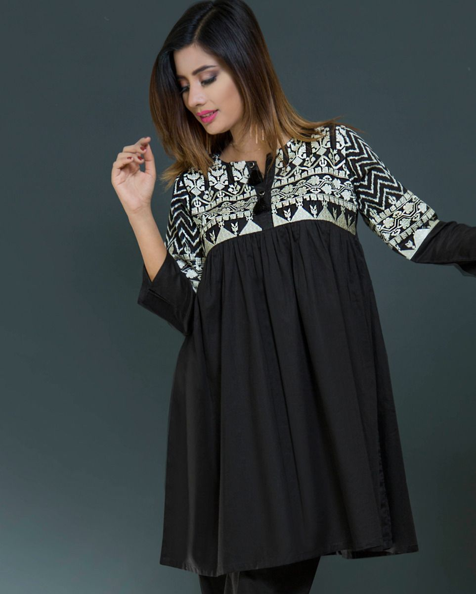 c14a33599c Graceful black ready to wear pret kurti by Nimsay spring collection 2019 -  Online Shopping in Pakistan