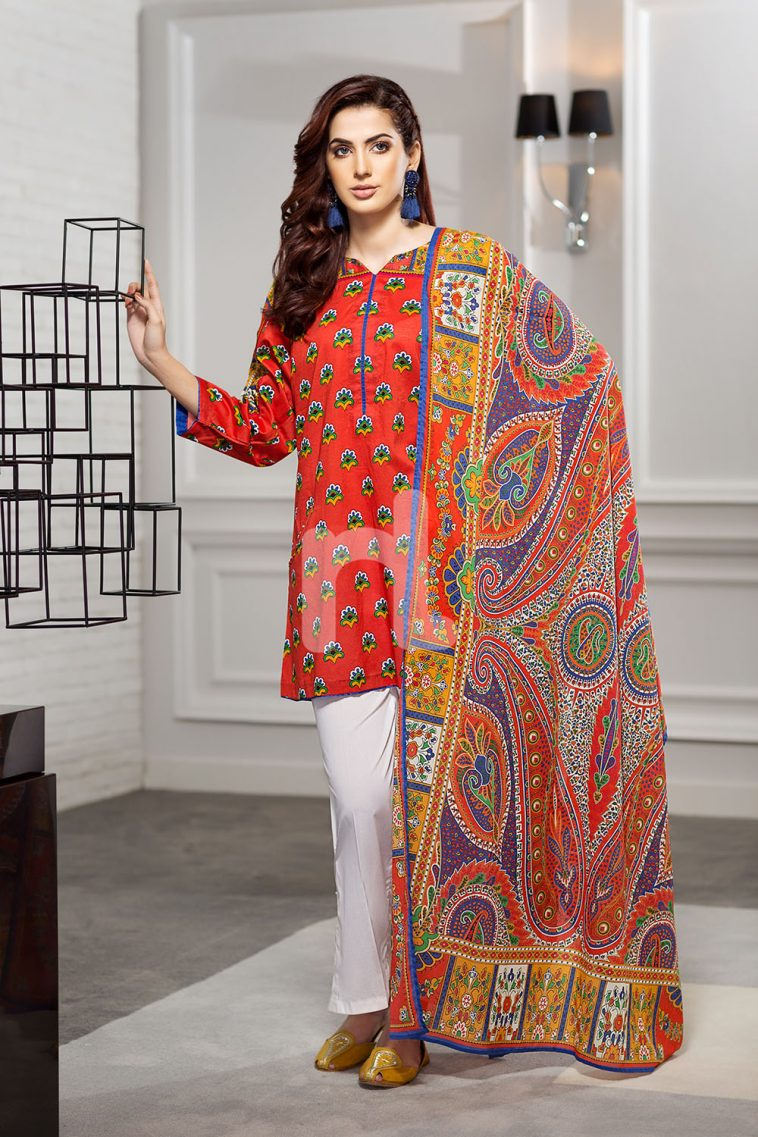 d21d47e17b Pretty Red 2 piece unstitched pret dress by Nishat Linen Lawn pret 2018