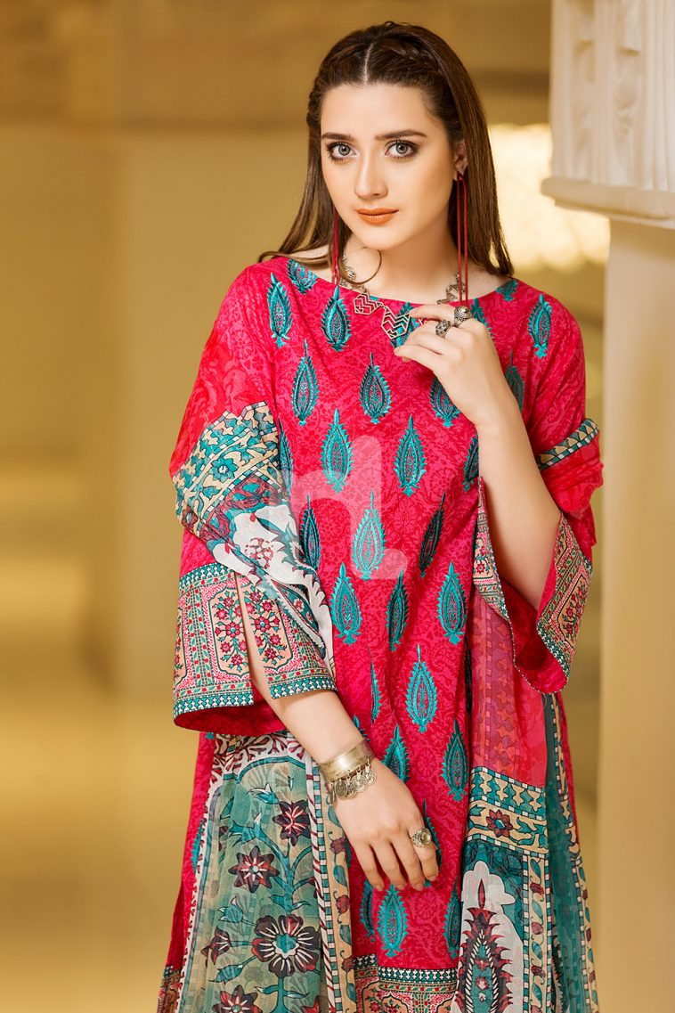 dad6df7480 Scintillating and alluring pink colored three piece unstitched lawn dress  by Nishat Linen new embroidered collection