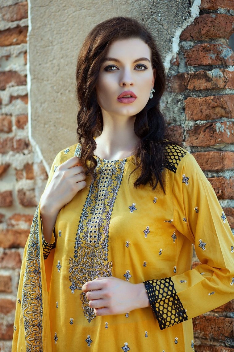 52aa30a863 This beautiful Yellow lawn unstitched Pakistani dress by Taana Baana  embroidered spring collection 2019