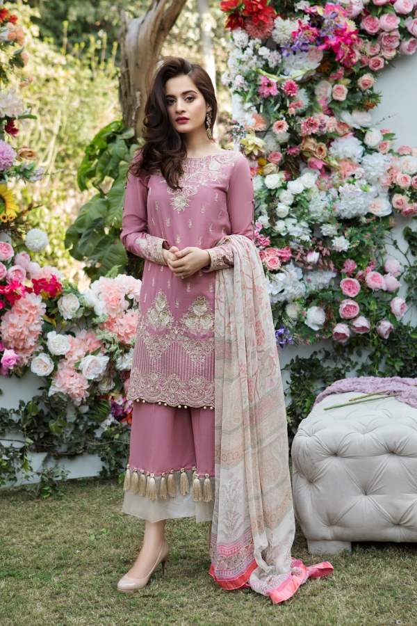 9f6feab5ea1b9 Beautiful Mauve embroidered Pakistani unstitched dress by Imrozia premium  embroidered dresses 2018