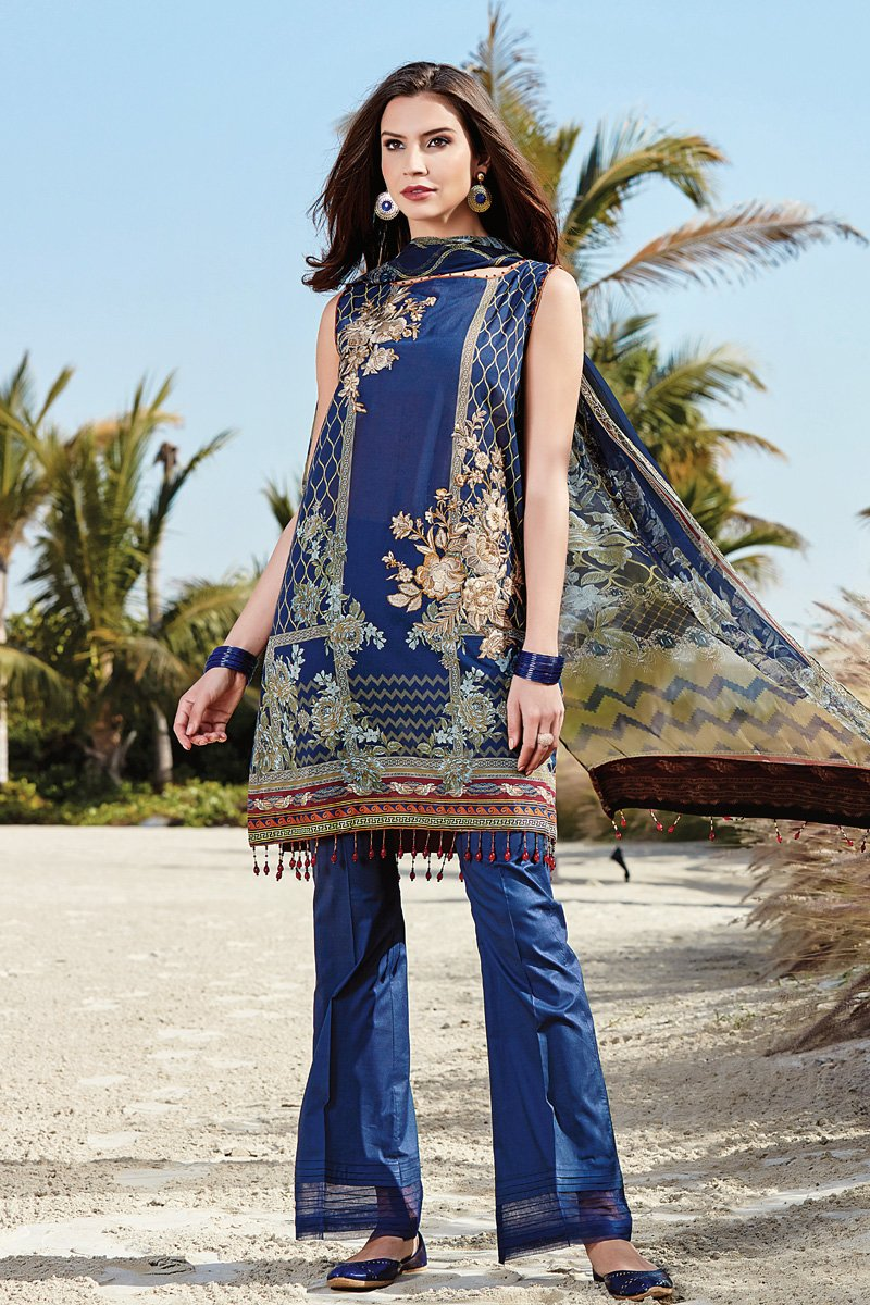 Beautiful and elegant azure colored three piece unstitched lawn dress by  Baroque Isabella casual collection 2018 f088d5dfd