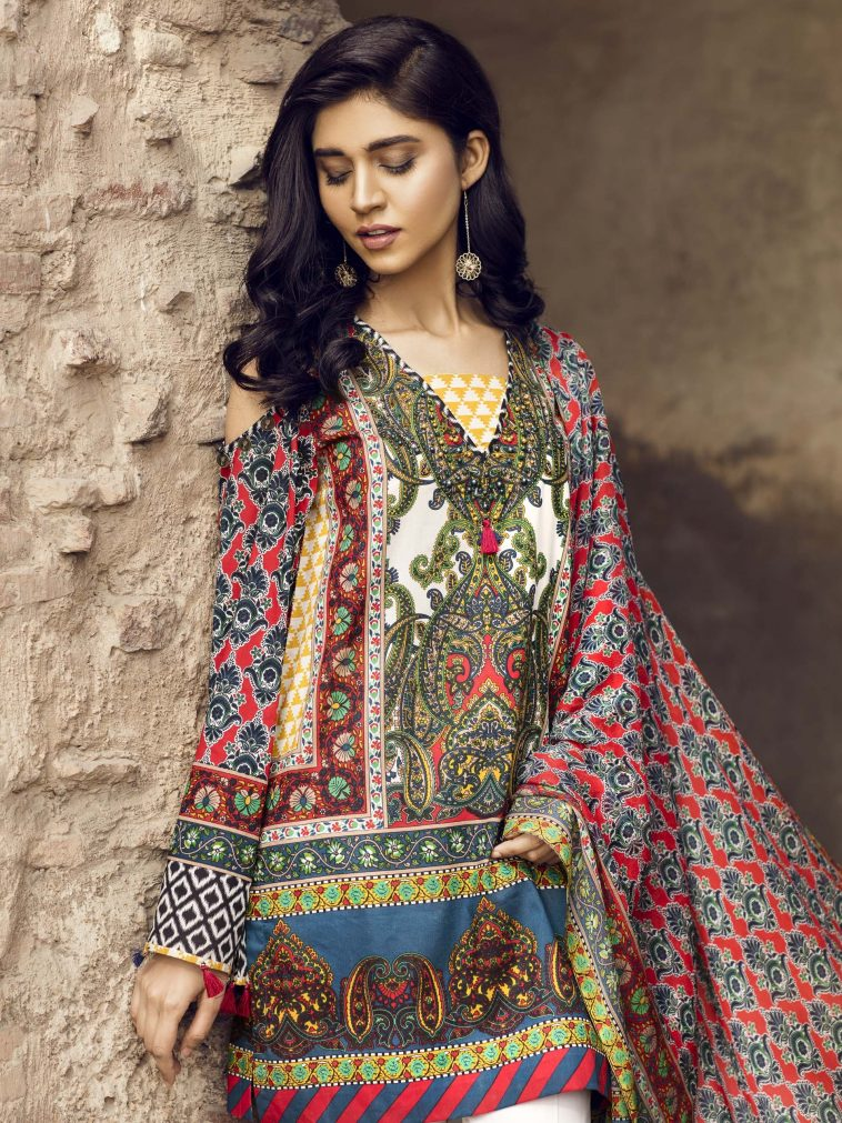 1da2b460ca6 Beautiful blue Pakistani unstitched dress by Limelight printed collection  vol.1