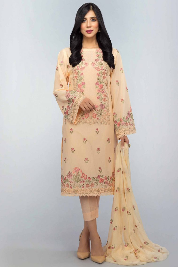 aa2c8865ca8 Buy Online Floral Trance Cream Unstitched Formal Pakistani Lawn Suit by  Bareeze Clothing