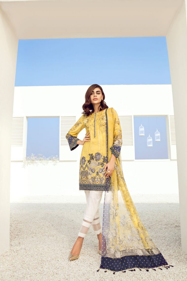 ec36268d15 Bold and classic yellow colored three piece unstitchedLawn dress by Baroque  Fuchsia lawn prets 2018