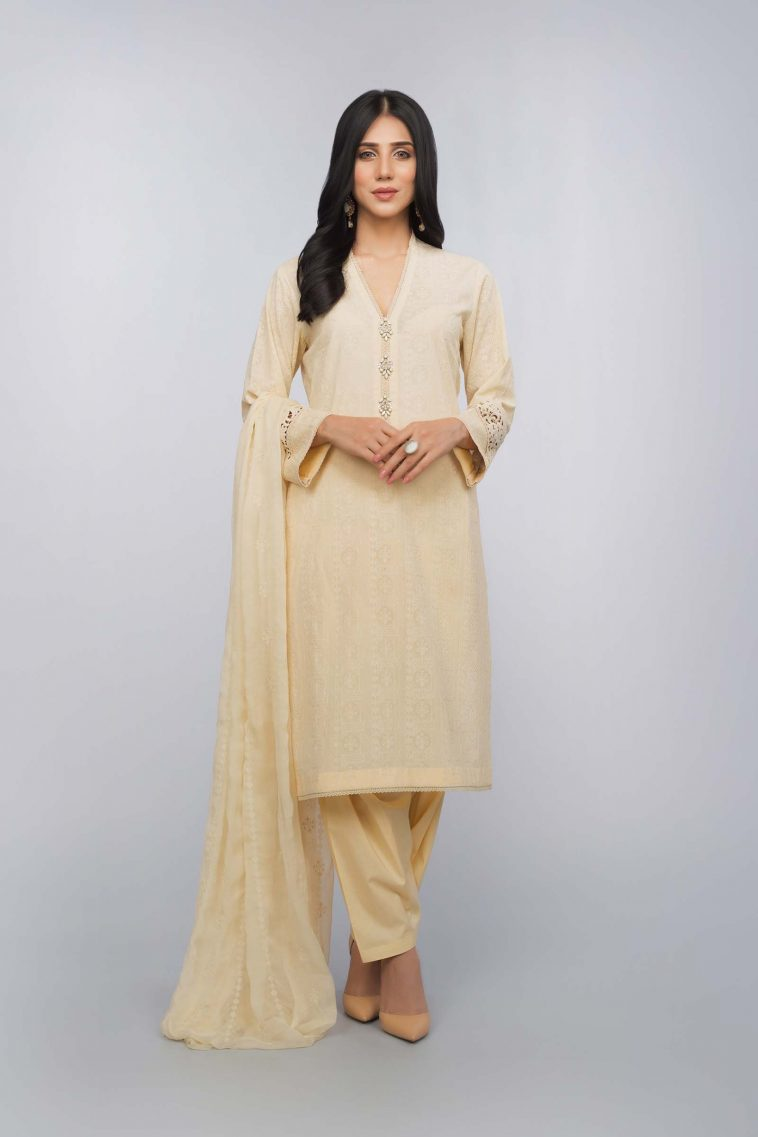 ebdee0661dc Buy Online Unstitched Cream Color Pakistani Dress by Bareeze Formal  Collection 2018