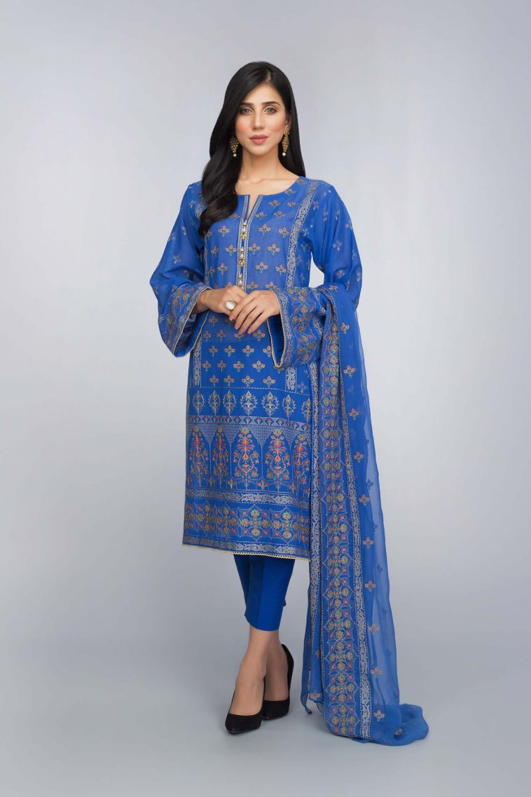 4b57b70052 Buy Online Embroidered Blue Pakistani Lawn Suit Bareeze Eid Collection with  Prices