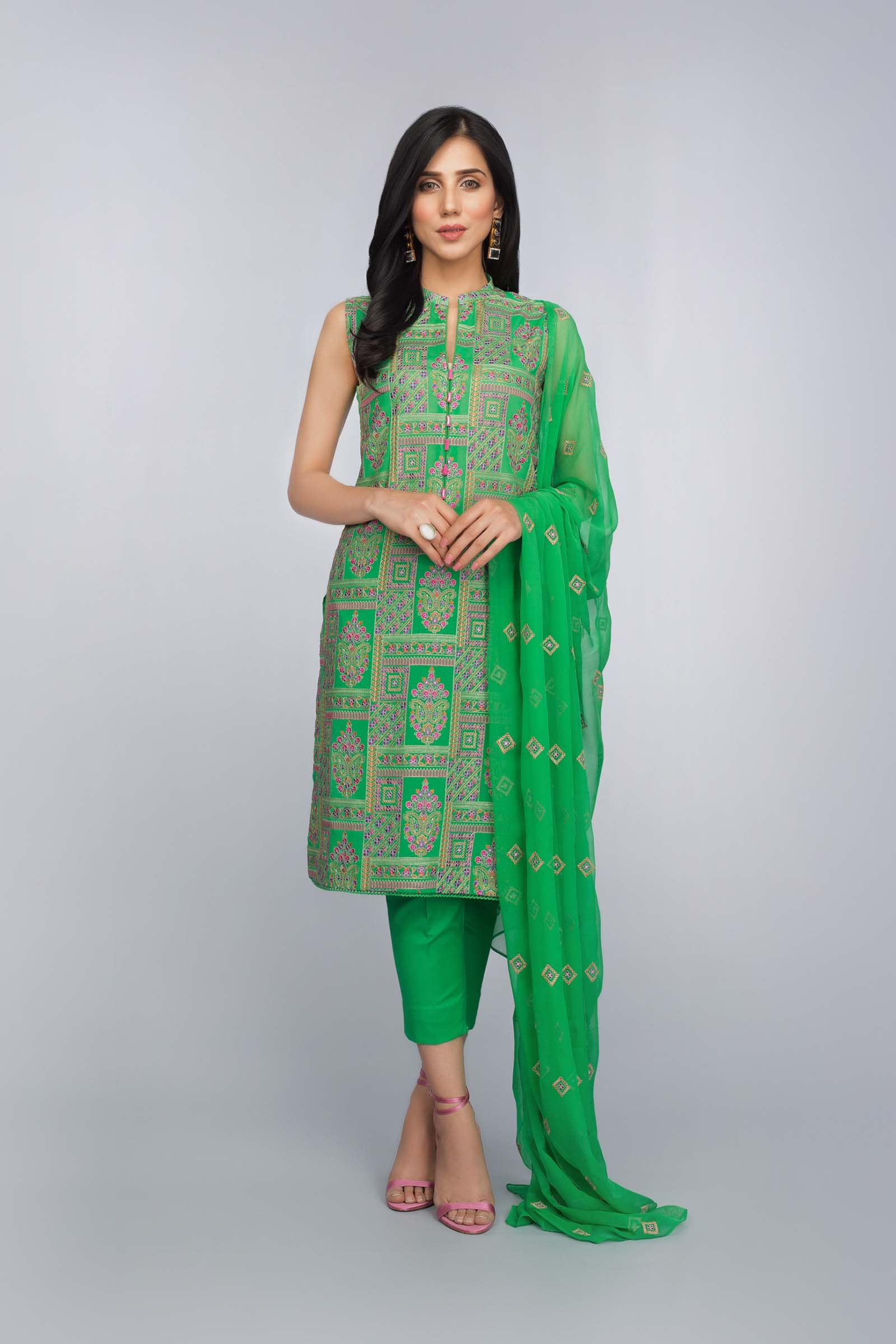 359123f2496 Buy Online Refreshing Green Unstitched Pakistani Lawn Suit by Bareeze  Summer Collection