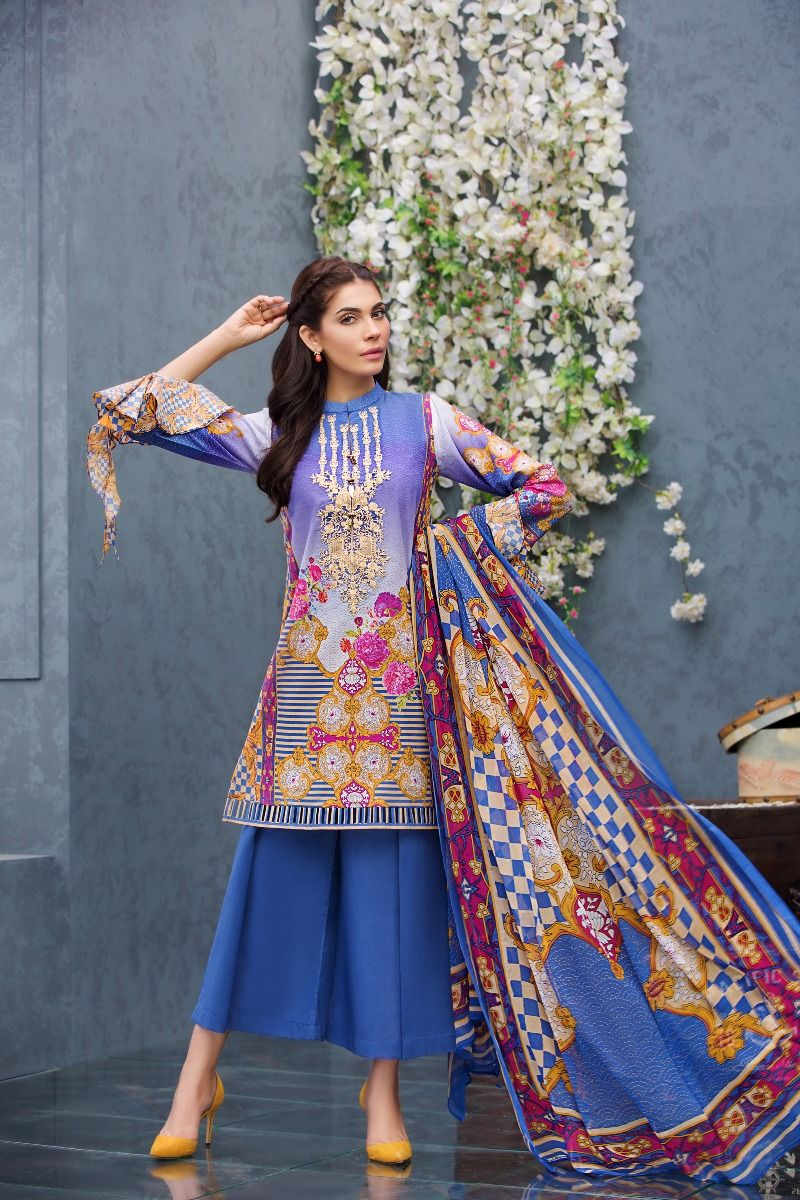 Beautiful Ink Blue Pakistani Unstitched Dress By Gul Ahmed