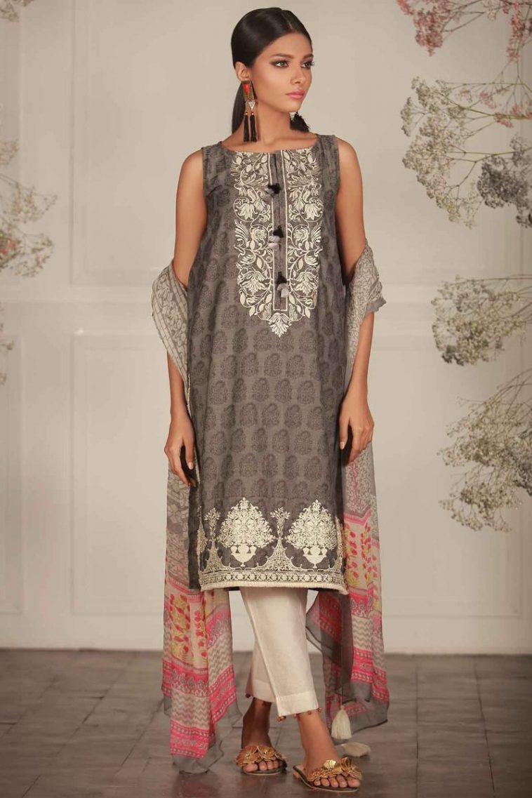 ade4cba35d Embroidered Grey 2 piece unstitched pret dress by Khaadi Spring collection  2018