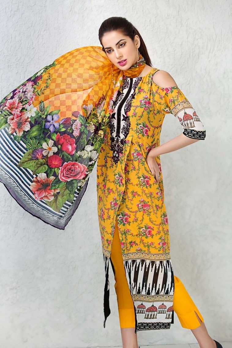 8a5a465cdf Get this ravishing printed Pakistani unstitched dress at a best price by Gul  Ahmed lawn clothes