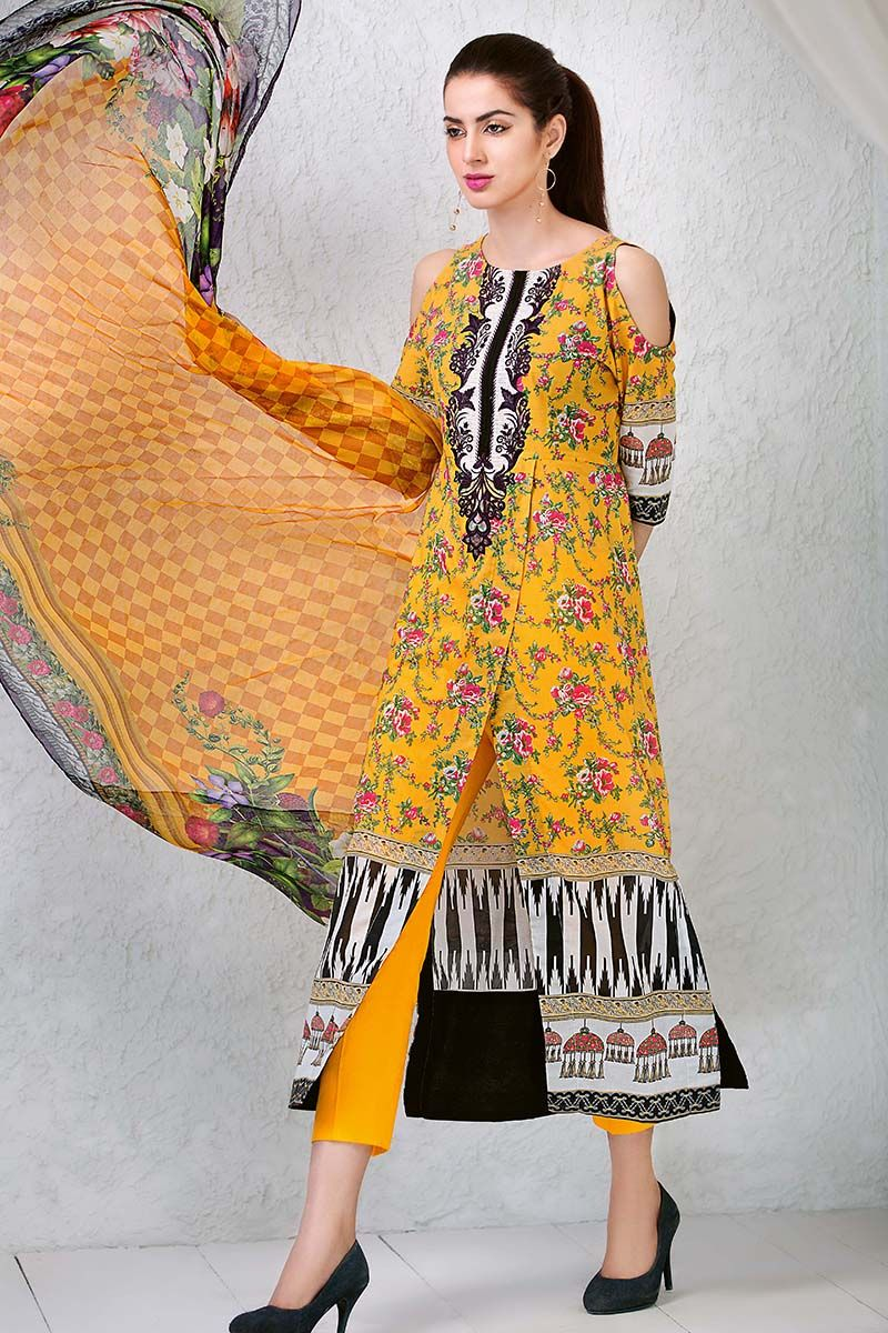 2ddb90ccdd Graceful Pakistani printed Yellow 3 piece unstitched pret by Gul Ahmed lawn  clothes 2018