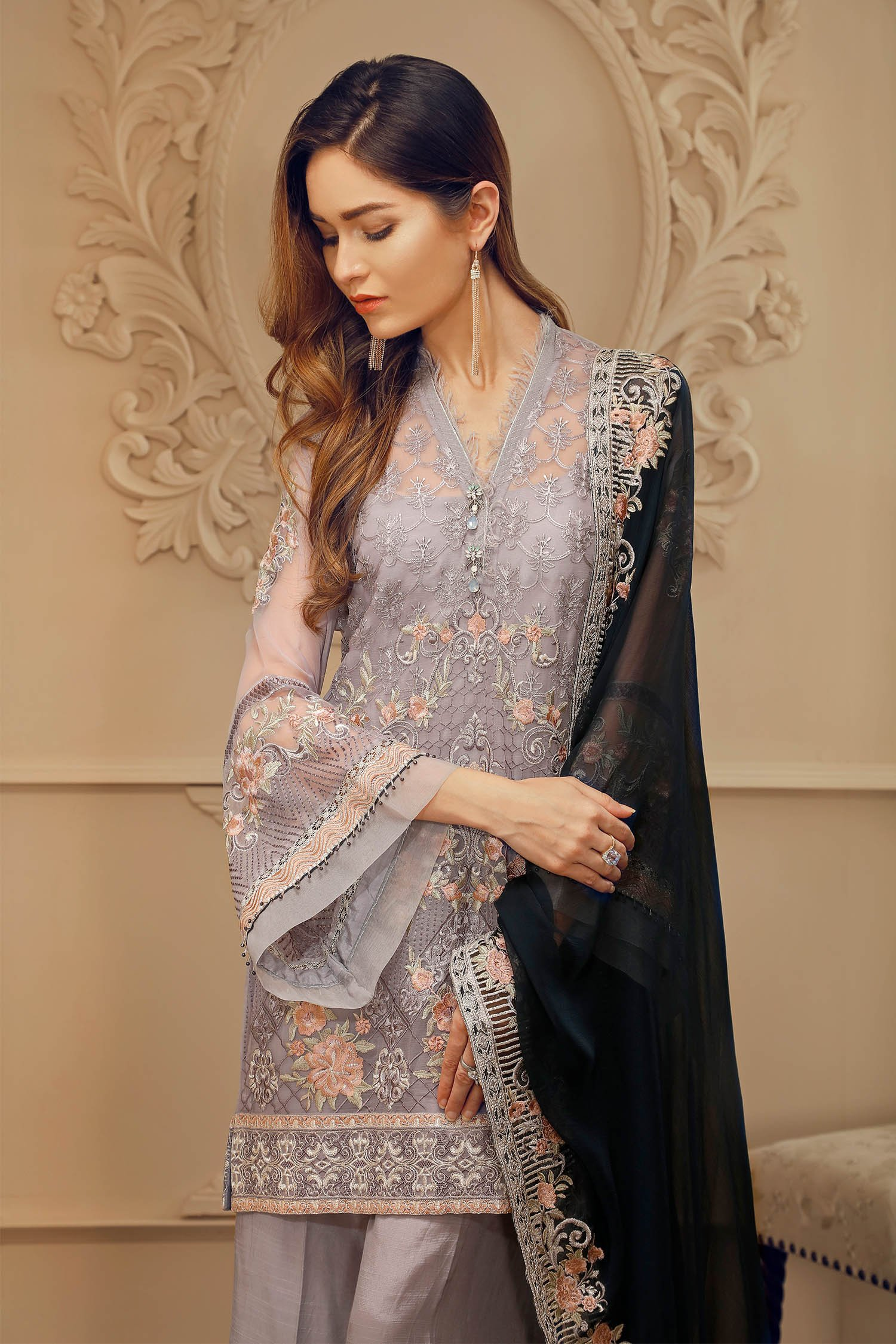 Mint 3 piece dress stitched pret wear by Baroque Chantelle evening wears  2018 - Online Shopping in Pakistan 6cc870358
