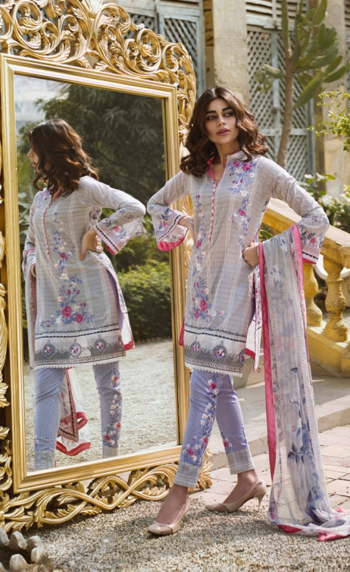 4903319967 Refreshing white unstitched Pakistani pret dress by LSM fabrics printed  clothes 2018