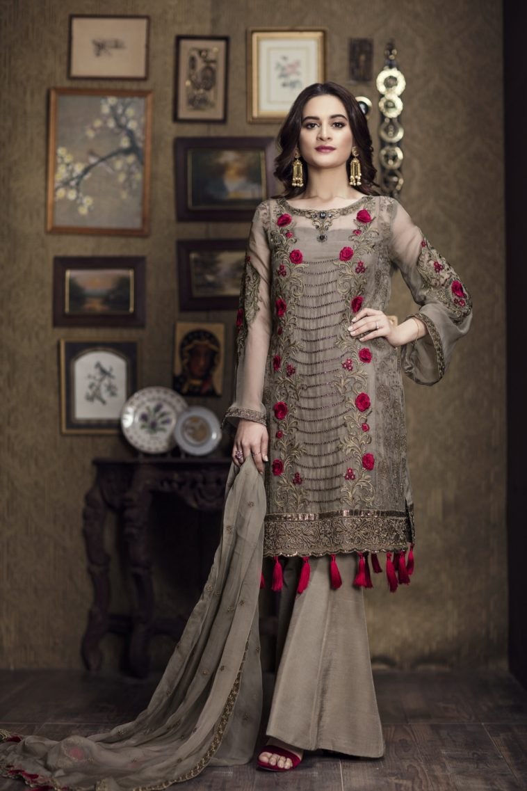 9f2ce22f3674e Shadow fleur brown ready to wear dress by Imrozia Premium party wear  collection 2018