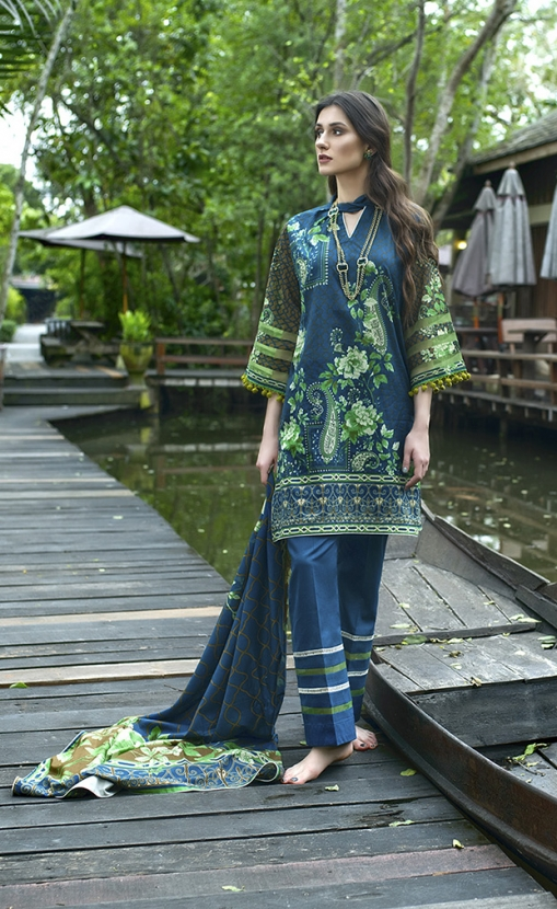 345323eb36 This elegant 3 piece unstitched Pakistani lawn dress available at a decent  price of pkr2450 at all online and off line stores by Komal Printed dresses  ...