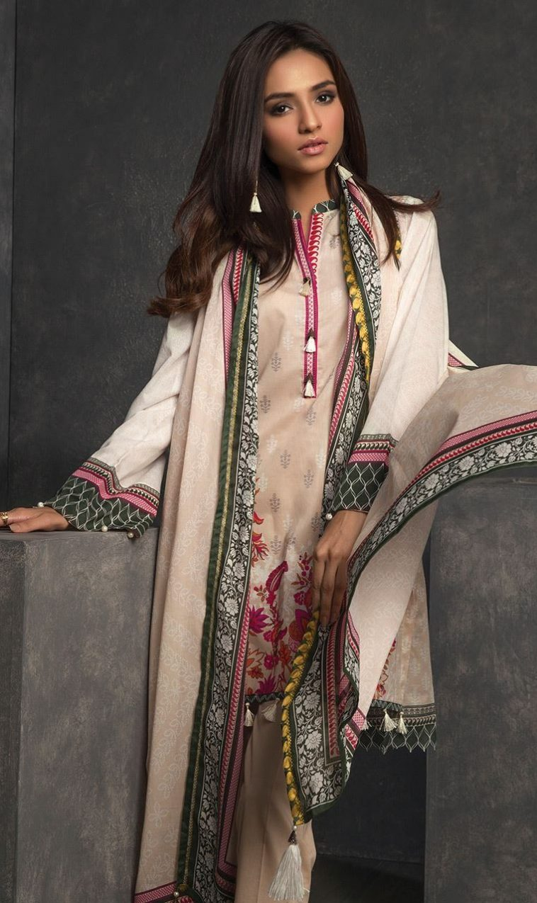 f10c302938 This elegant 3 piece unstitched Pakistani lawn dress available at a decent  price of pkr3200 at