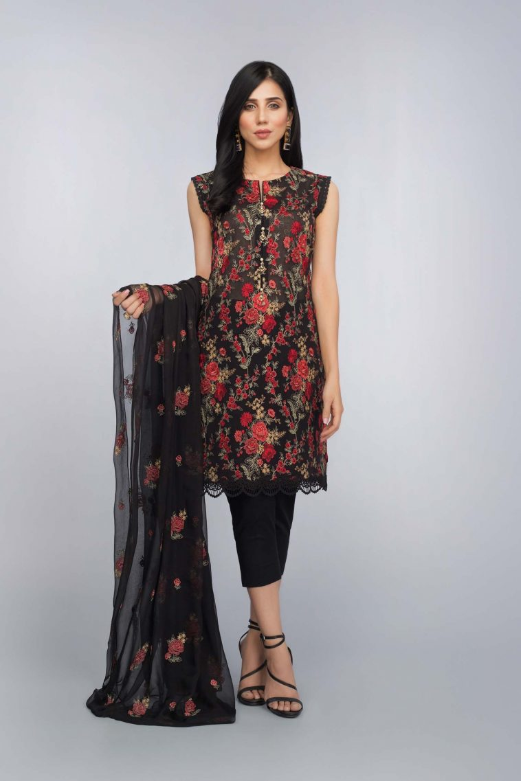 f97f345da4 Buy Embroidered Lawn Suit by Bareeze Online featuring a black sleeveless  shirt, dyed cambric trouser