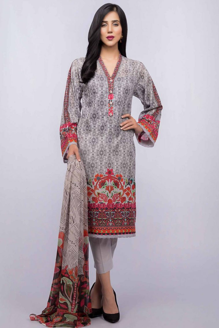 c2ccdeed178 Vibrant grey colored unstitched lawn by bareeze summer printed collection
