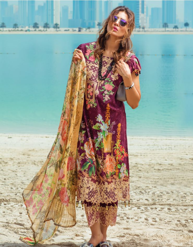 b8d3741601 Beautiful maroon embroidered unstitched Pakistani pret wear by Rangrasiya  embroidered pret wear 2018