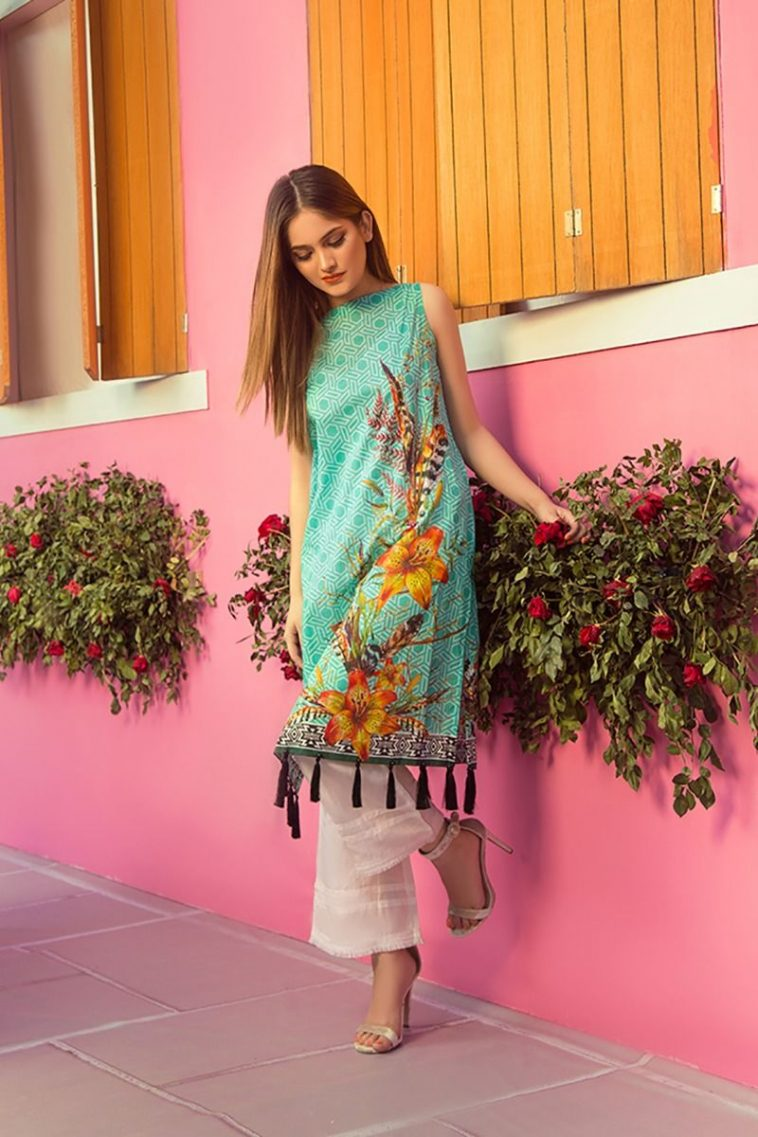 9aba576844 Buy Online Sea Green Pret Ready to Wear Shirt by Zellbury Summer Collection  2018 Sale