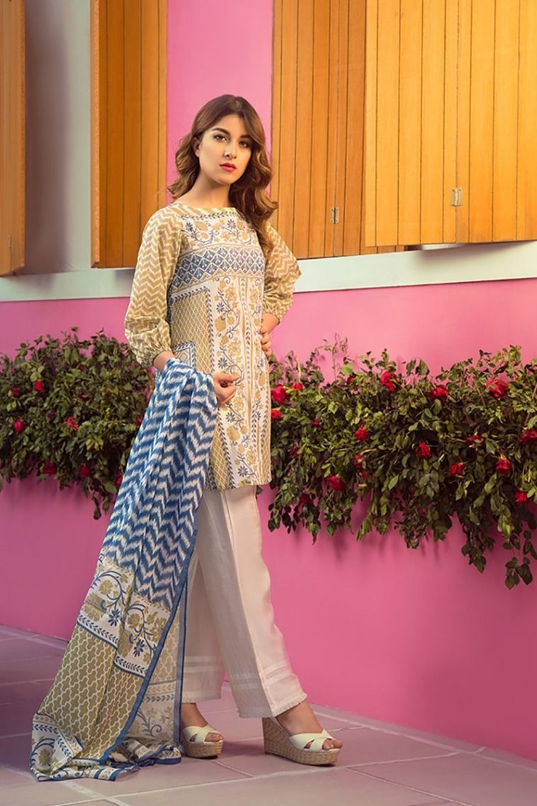 bc302bbf62 Buy Online 2 Piece Cream Color Pakistani Pret Wear by Zellbury Summer  Collection 2018 with Price