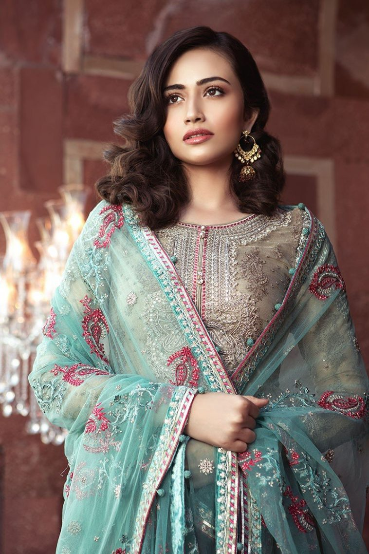 7608d85e211 Maria B Sale on this Beautiful Pakistani Wedding Unstitched Sharara Dress  with Embroidered Net Blouse