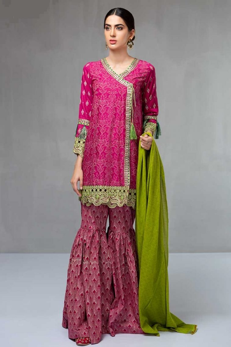 08724436427 Maria B Engagement Dress Featuring Embroidered Wedding Angrakha with  Gharara Pants
