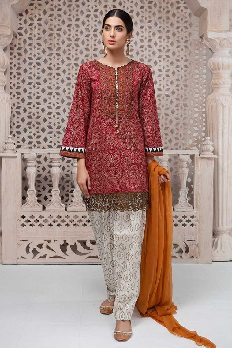 938a51ab8d Maria B Lawn 2019 Features Embroidered Pakistani Suit Featuring Short Shirt  & Printed Patiala Shalwar