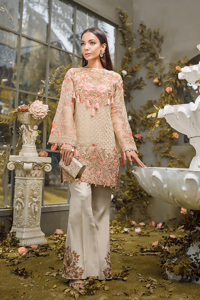 82a722c008 Gold weave embroidered cotton net 3 piece Pakistani dress by Gulaal pakistani  party wear dresses online