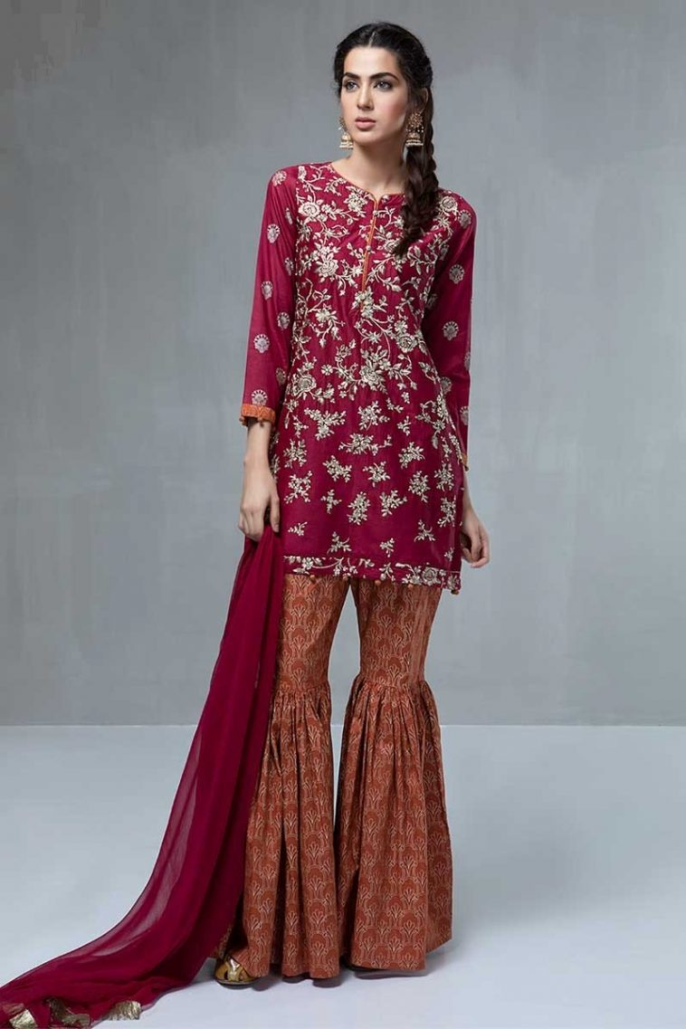 dc9e44bfc5 Maria B Dubai – Embroidered Pakistani Unstitched Suit with Embroidered  Shirt & Gharara Pants