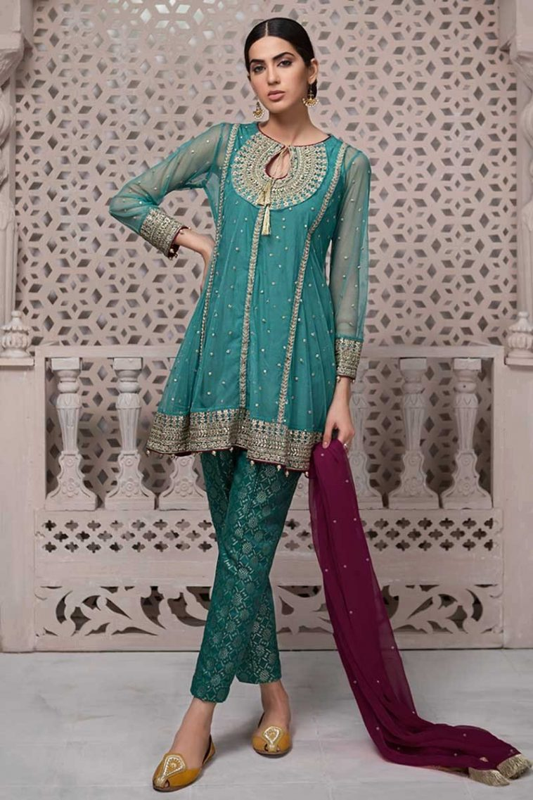 33b045379ab4d Maria B Wedding Wear Features Net Fabric Embroidered A-Line Kameez, Banarsi  Trouser &