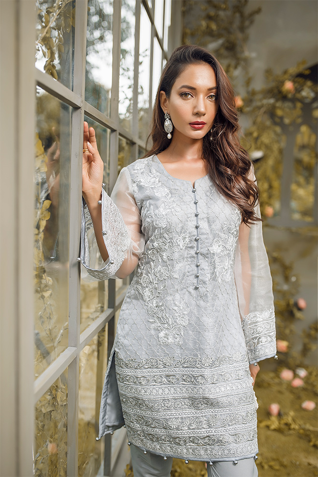 5c5119556e Silver grey embroidered katan net 2 piece dress by Gulaal pakistani party  dresses online shopping