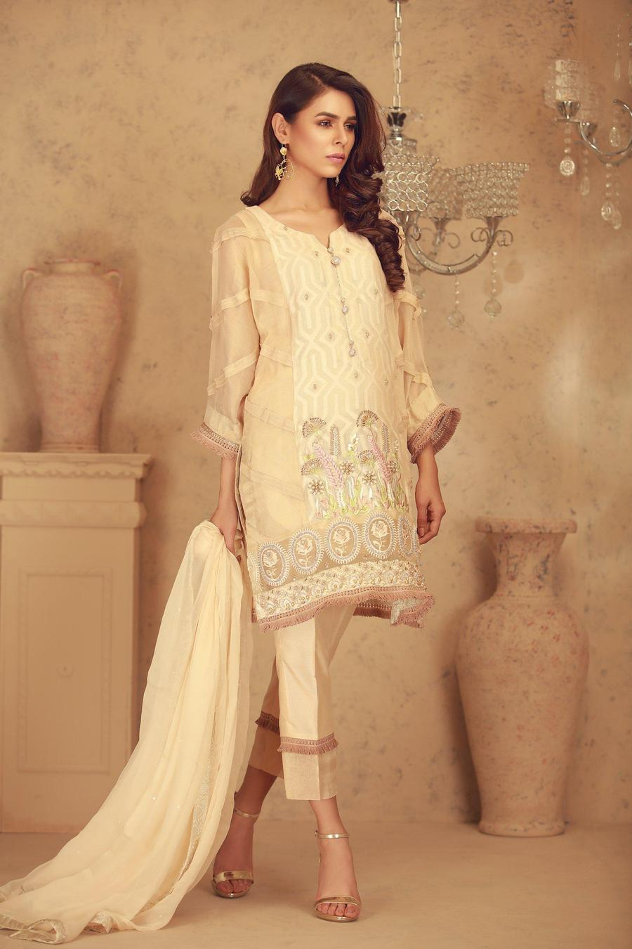 841ae6d252 Mari Gold Pakistani Party Dress by Sarosh Salman Luxury Pret Collection
