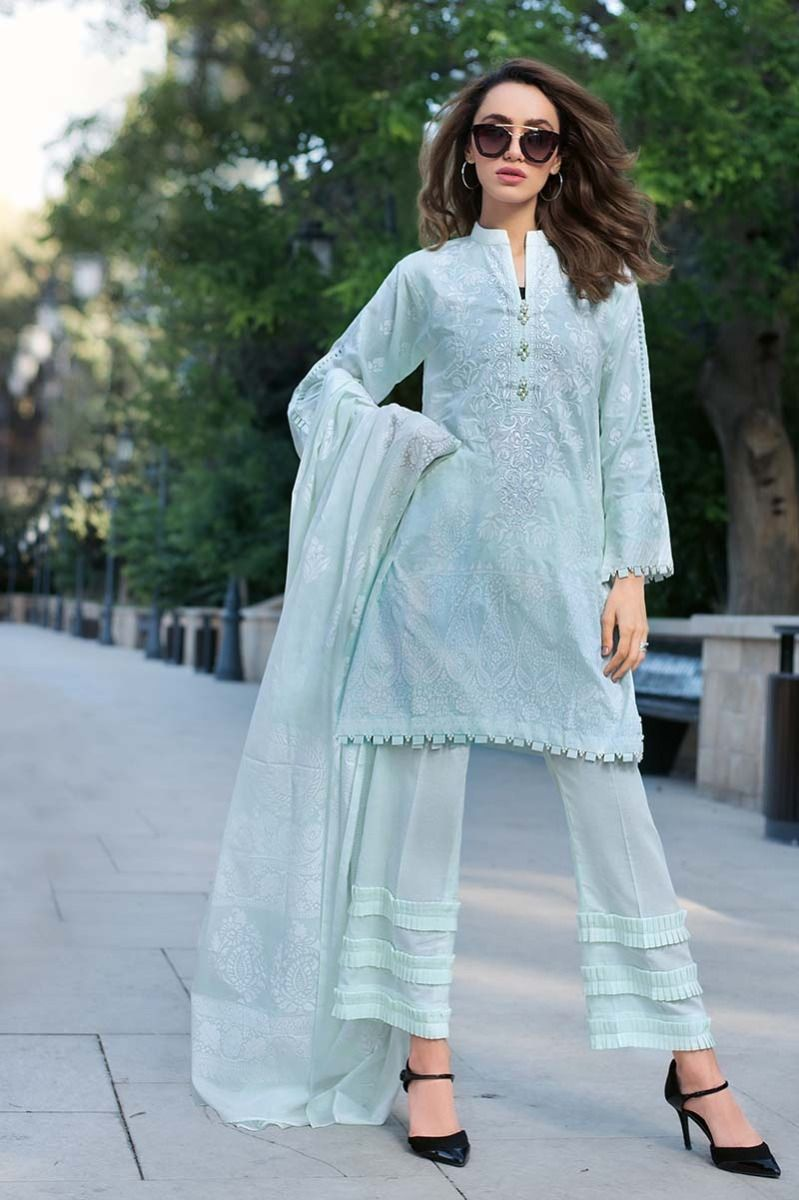 Stylish Ferozi Three Piece Pakistani Cotton Suit By Gul