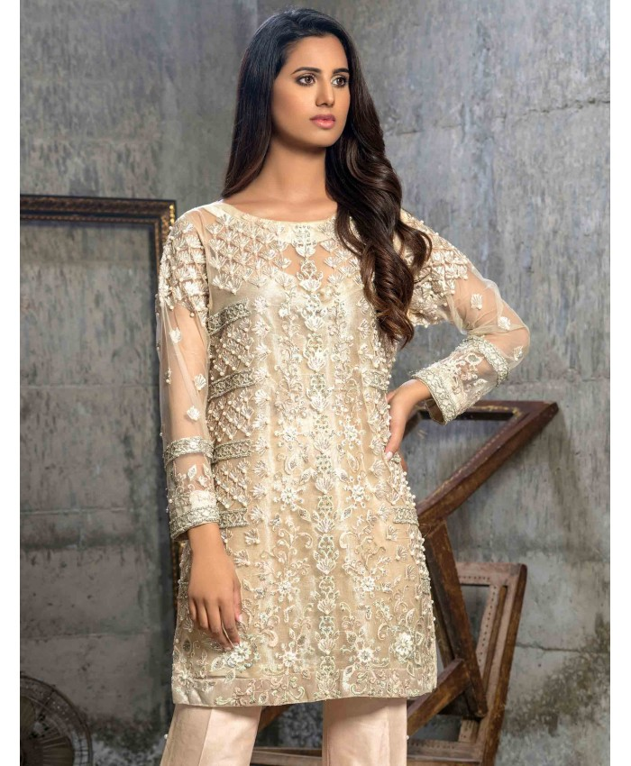 69ed1ec85c Beautiful embellished cream Pakistani semi formal dress by Cartes by Pasho